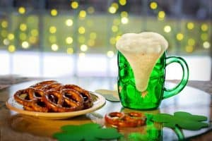 Green Beer and pretzels